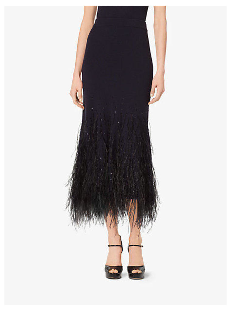 Feather-Embroidered -Cashmere Trumpet Skirt
