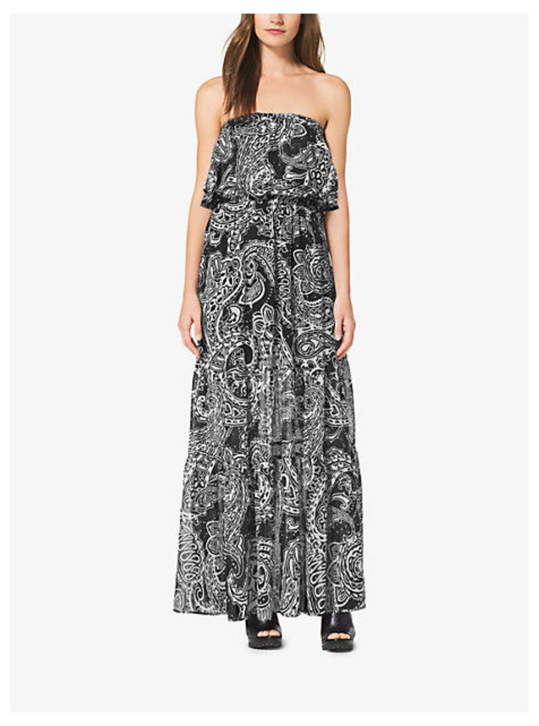 Tiered Paisley Strapless Maxi Dress
