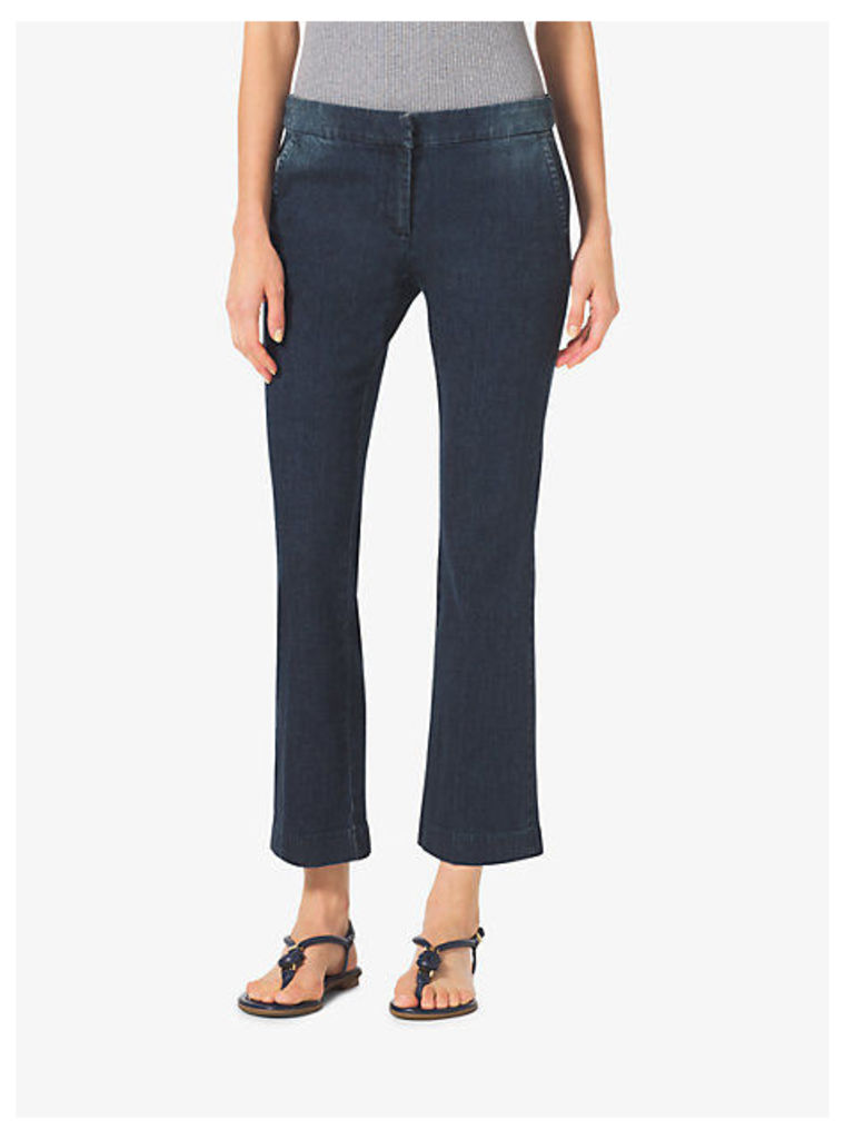 Denim Cropped Flare Trousers
