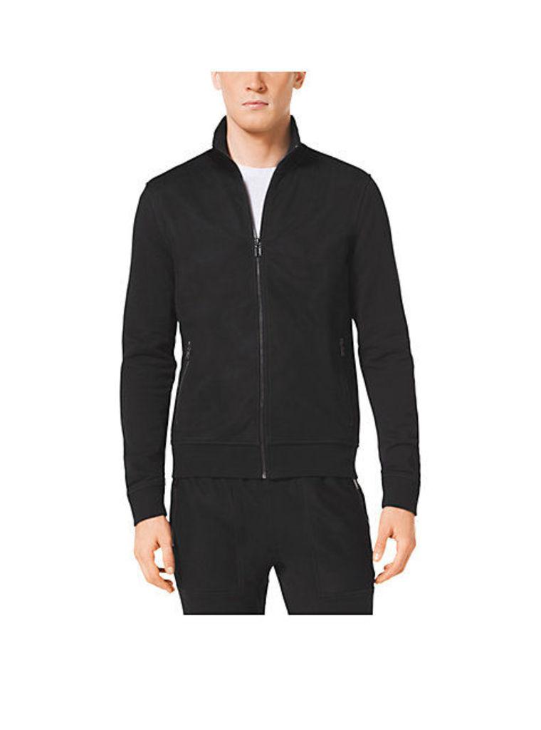 Stretch-Cotton Zip-Up Sweater