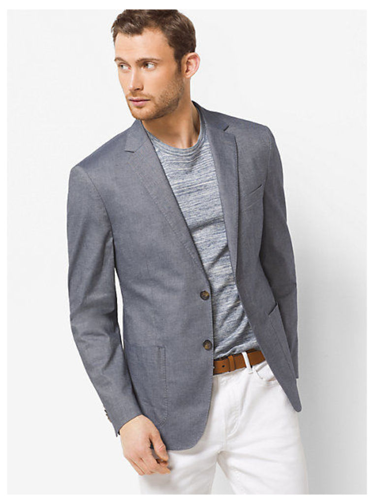 Tailored-Fit Chambray Cotton Blazer