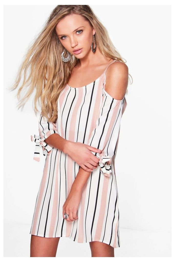 Stripe Cold Shoulder Shift Dress - multi