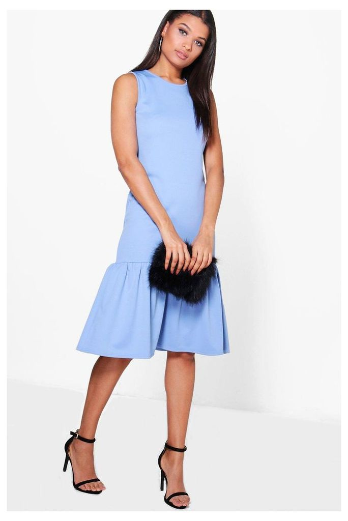Drop Waist Peplum Shift Dress - bluebell