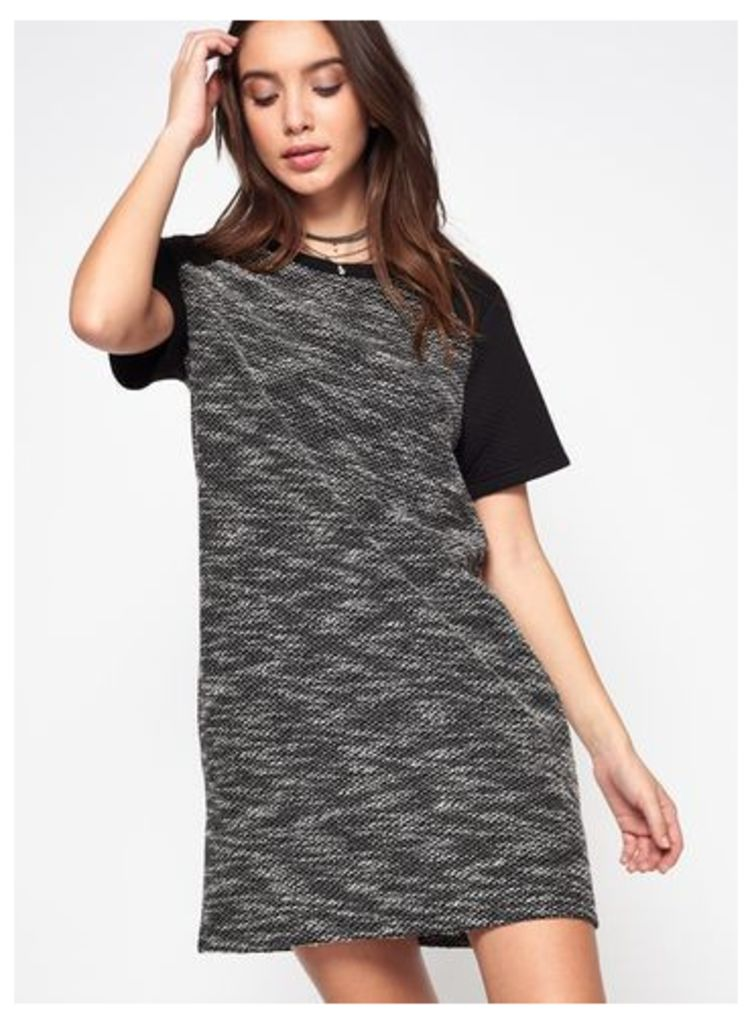 Womens Black Contrast Sleeve Tea Dress, Black