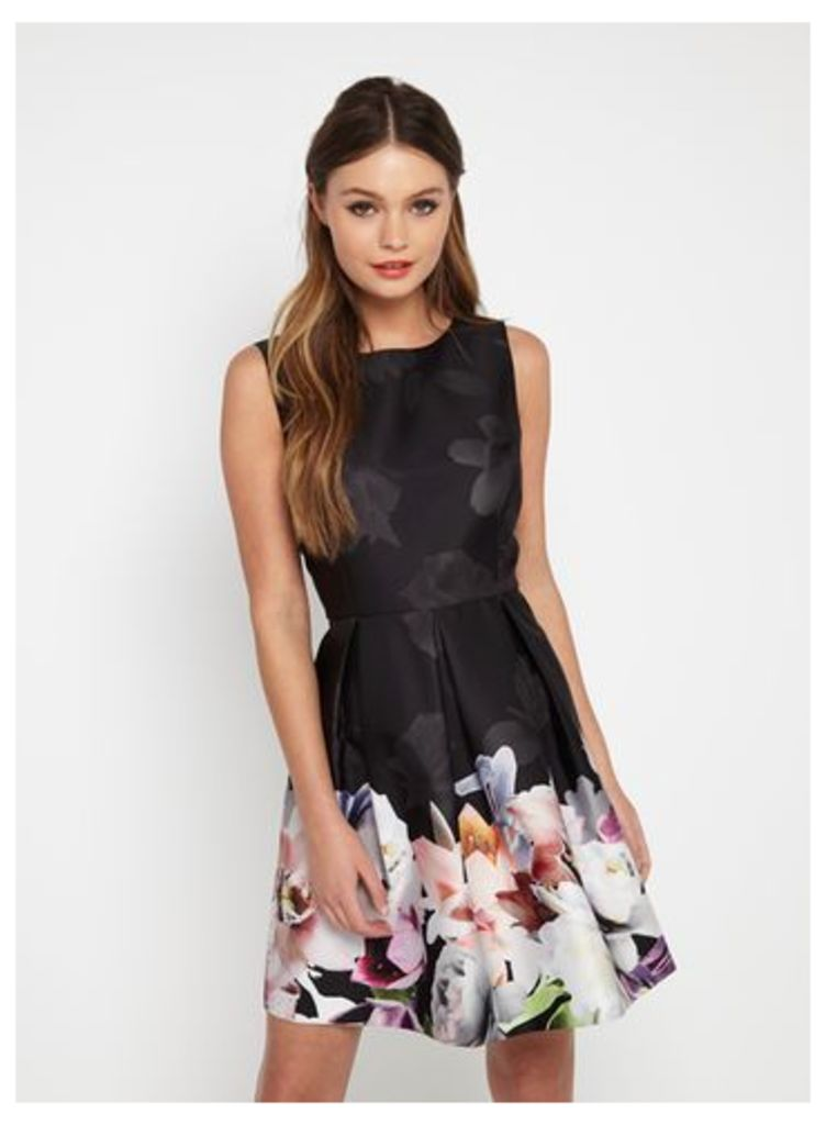 Womens Digital Floral Prom Dress, Black