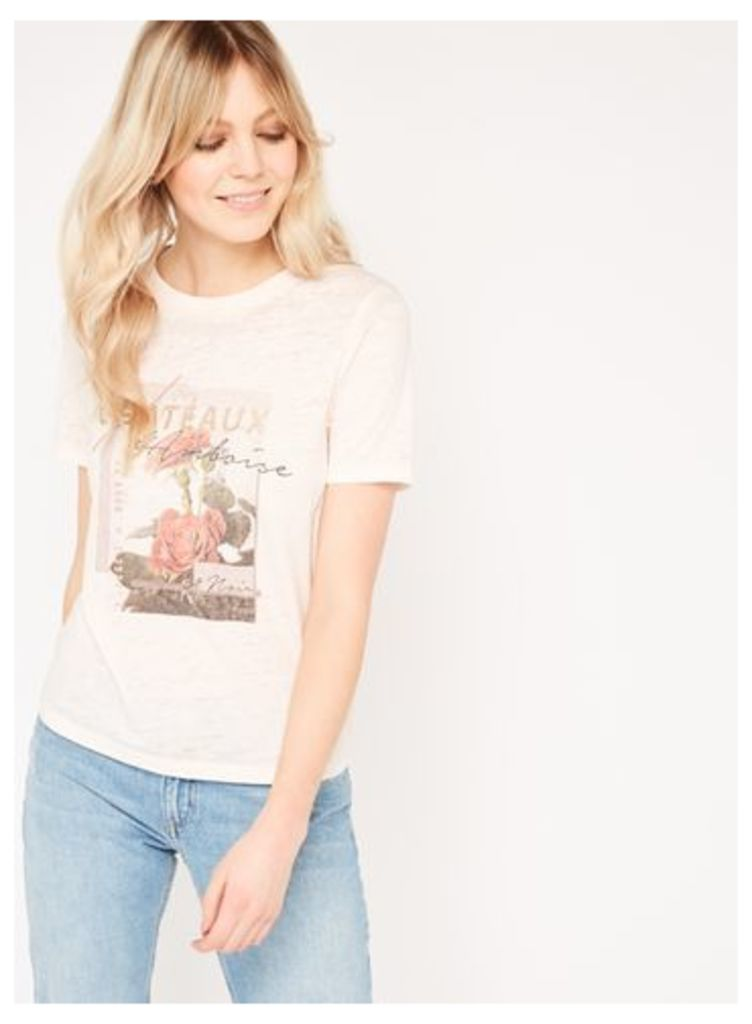 Womens Pink Chateau Burn Out T-Shirt, Pale Pink