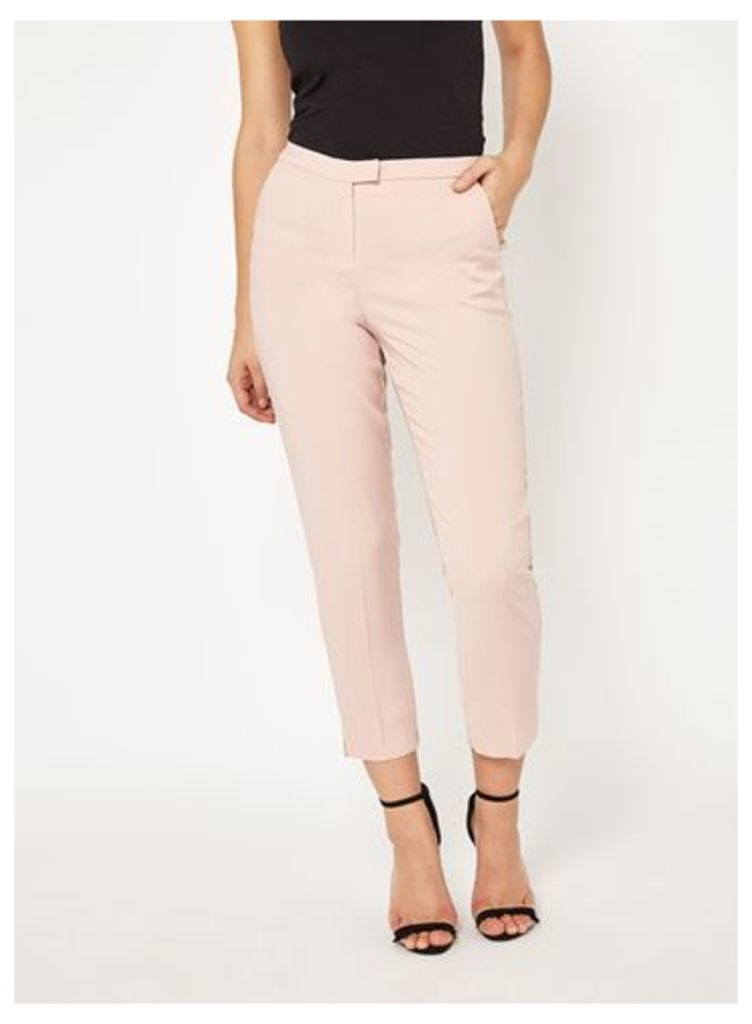 Womens Pale Pink Cigarette Trousers, Pale Pink