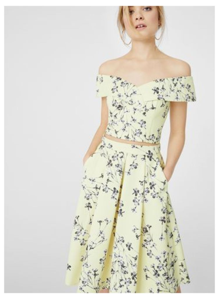 Womens Yellow Floral Print Midi Skirt, Assorted