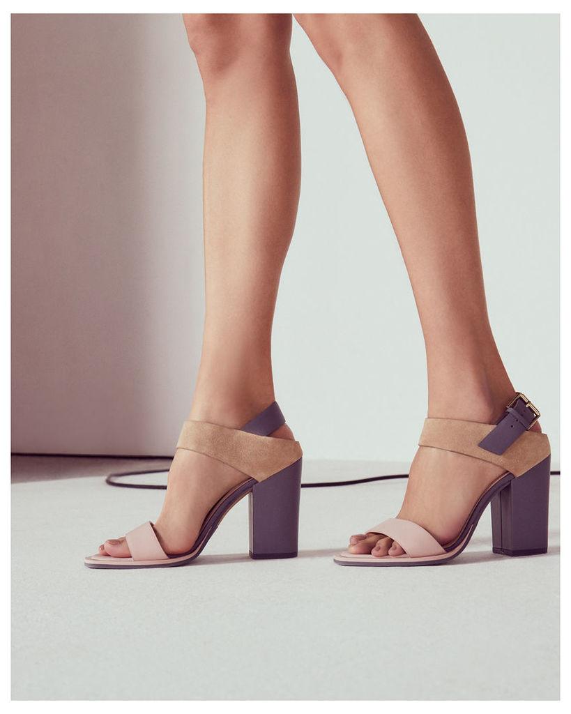 Ted Baker Block heeled buckle sandals Camel