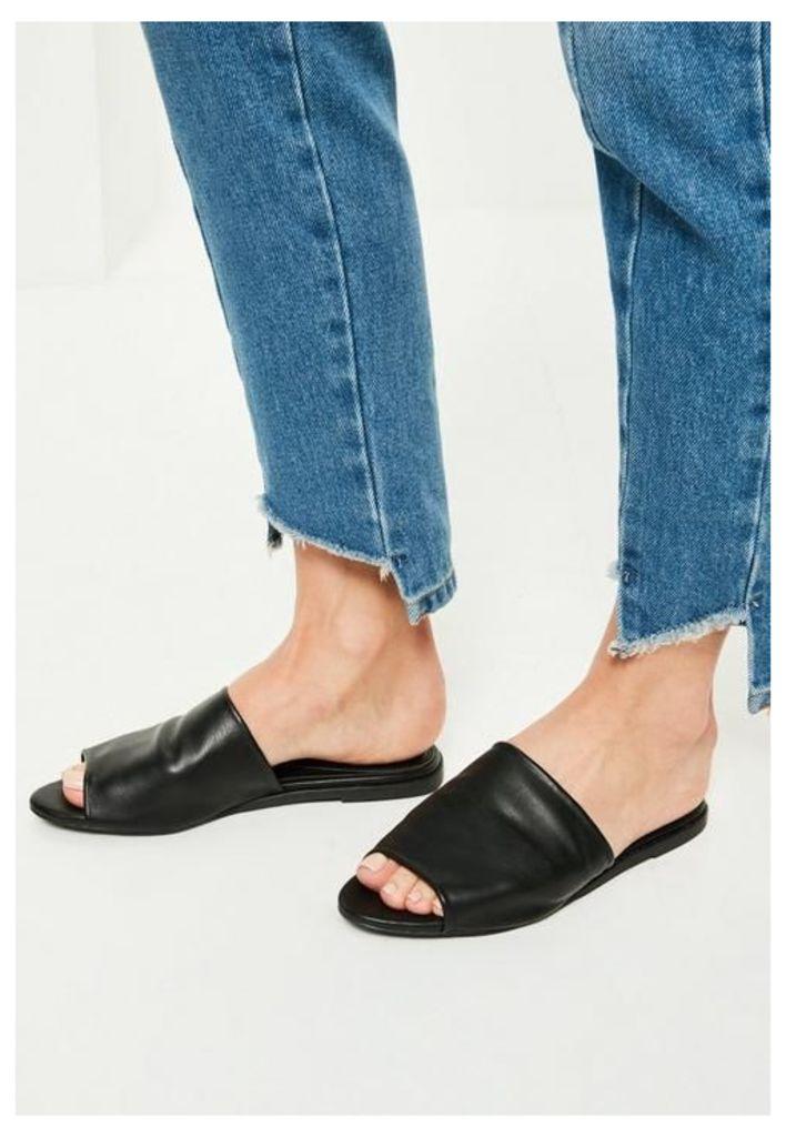 Black Peep Toe Slip On Mules, Black