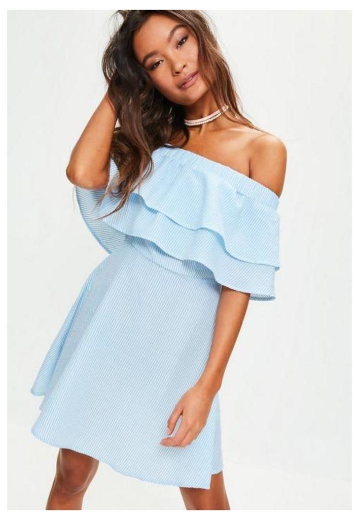 Blue And White Striped Ruffle Layer Bardot Swing Dress, Blue