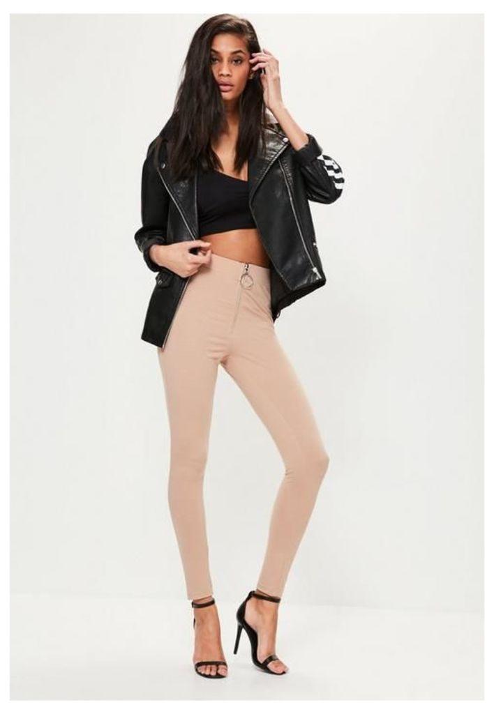 Nude Circle Zip Detail Leggings, Beige