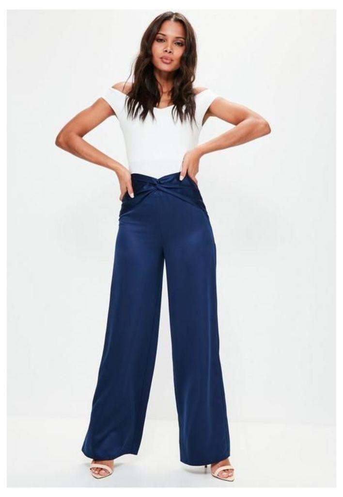 Navy Knot Detail Satin Wide Leg Trousers, Blue