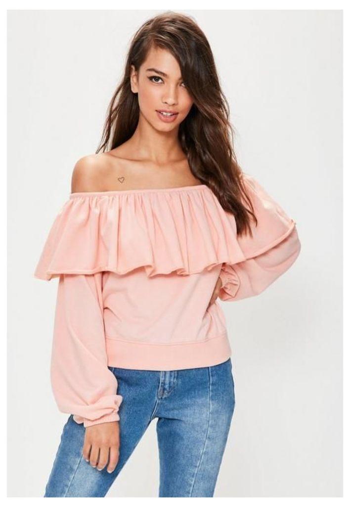 Pink Frill Bardot Sweatshirt, Pink