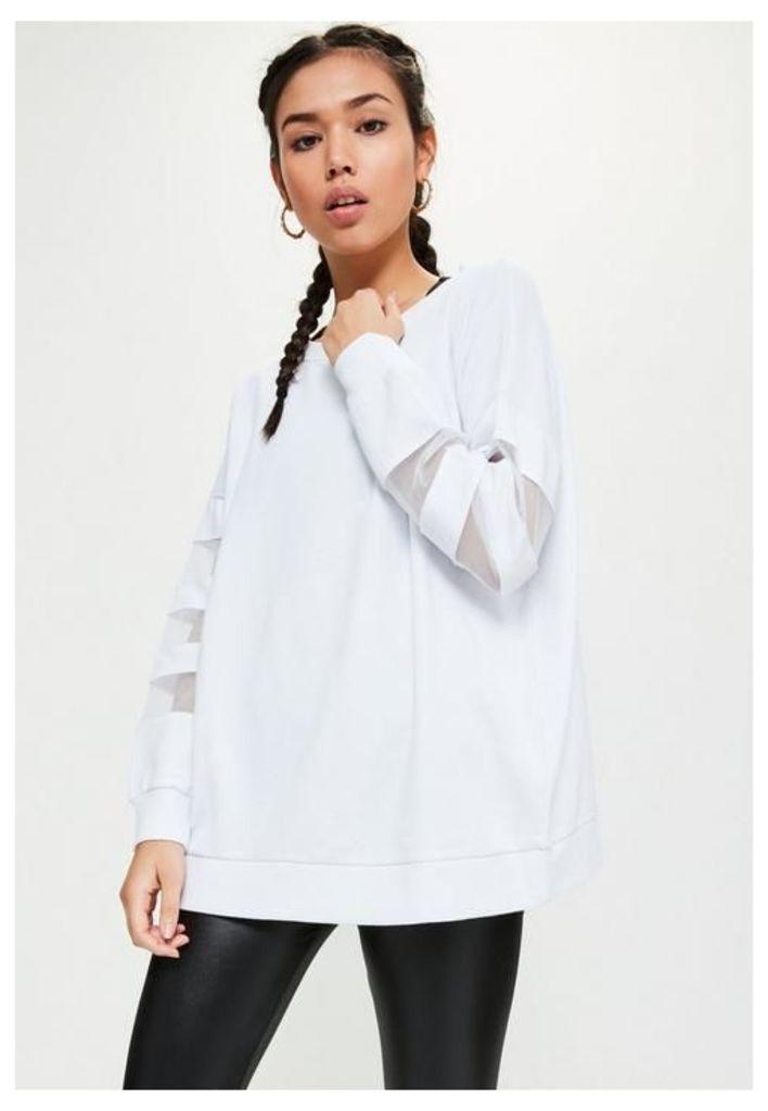 Active White Mesh Sleeve Sweatshirt, White