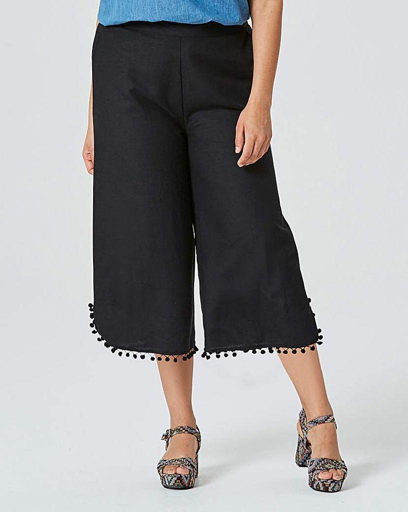 Linen Mix Pom Pom Crop Wide Leg Trouser