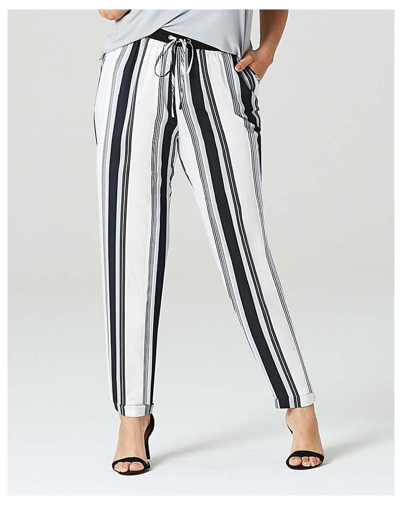Stripe Tapered Leg Trousers