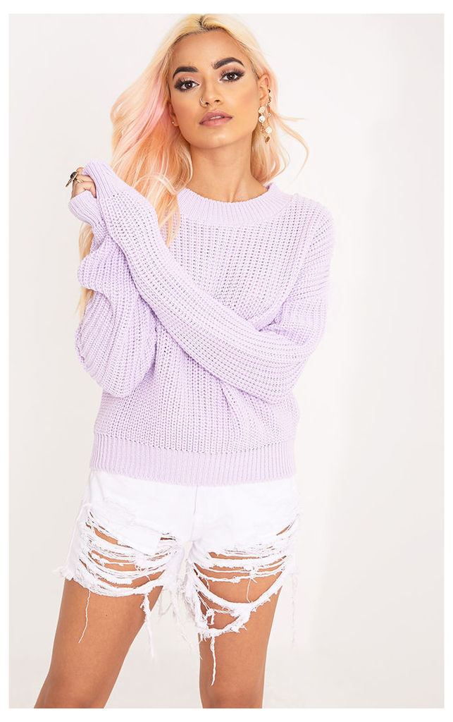 Cara Lilac Cropped Knit Jumper, Purple