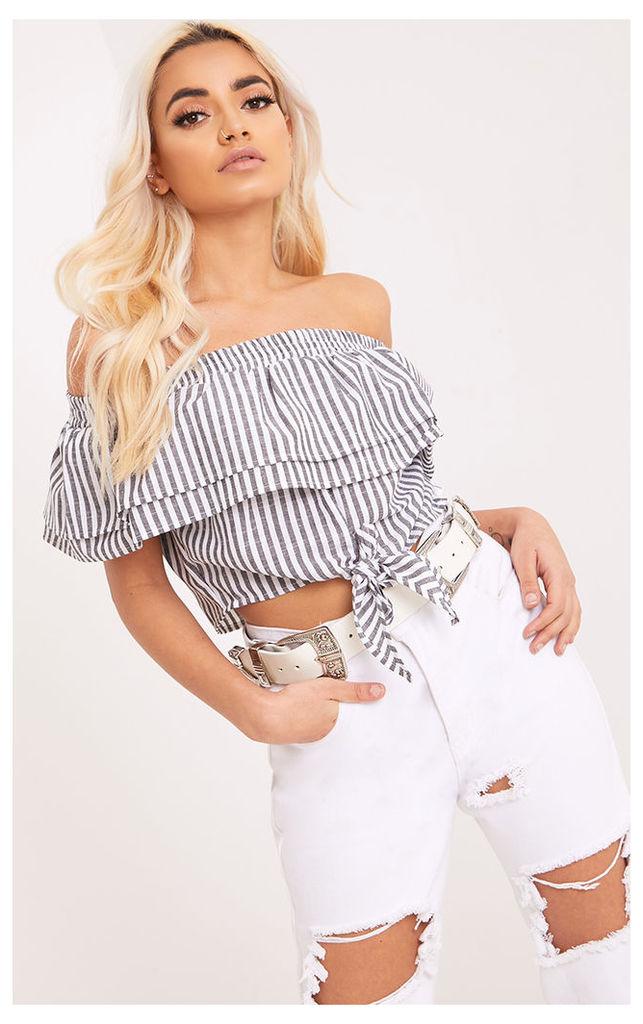 Ashleigh Black Stripe Bardot Frill Tie Front Crop Top, Black