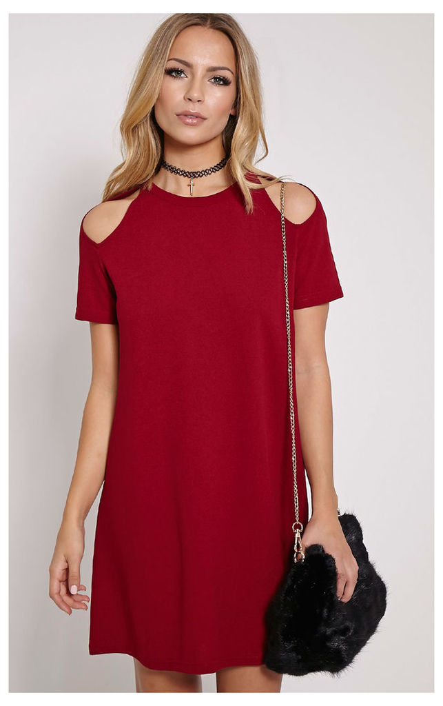 Sandie Wine Cold Shoulder Shift Dress, Red