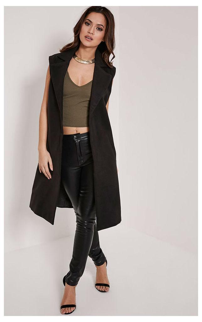 Huey Black Sleeveless Duster Coat, Black