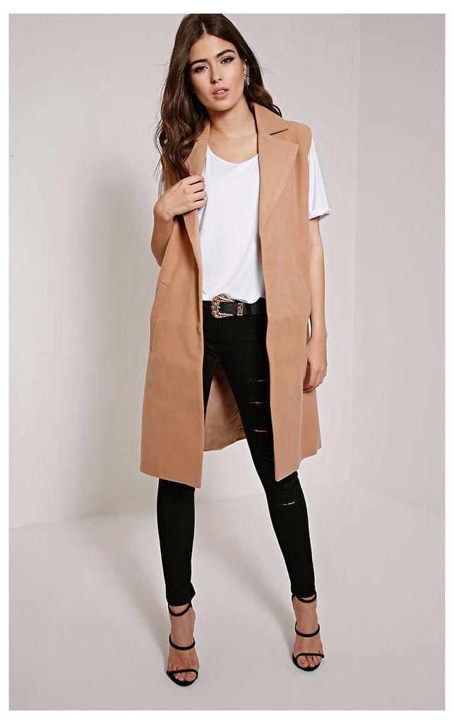 Huey Tan Sleeveless Duster Coat, Brown