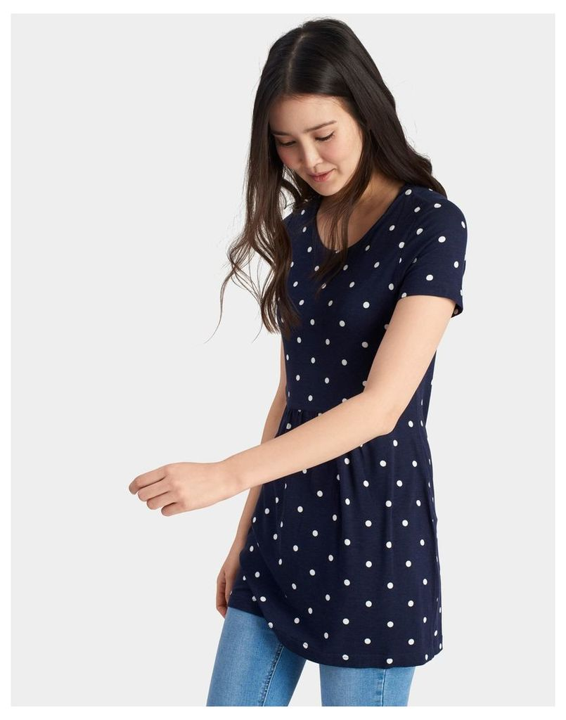 French Navy Spot Madison Jersey Tunic  Size 12 | Joules UK