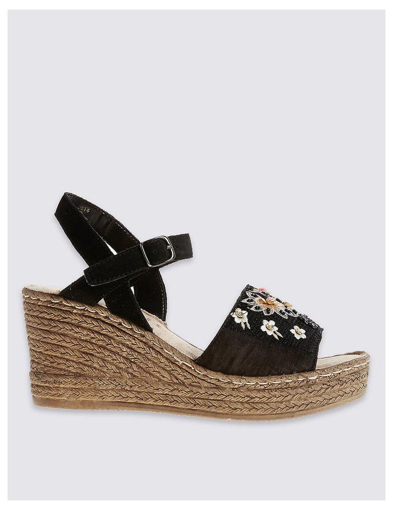 Footglove Suede Wedge Heel Embroidered Sandals