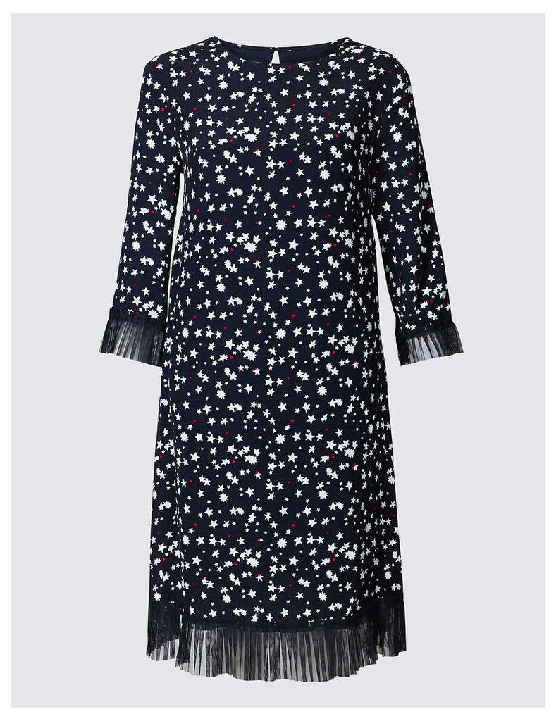 Limited Edition Star Print Tulle Hem 3/4 Sleeve Tunic