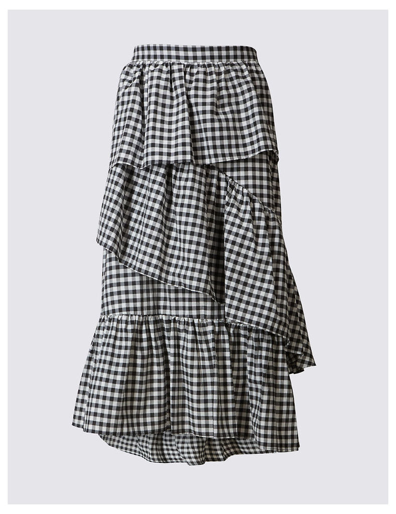 Limited Edition Cotton Rich Gingham Ruffle Midi Skirt