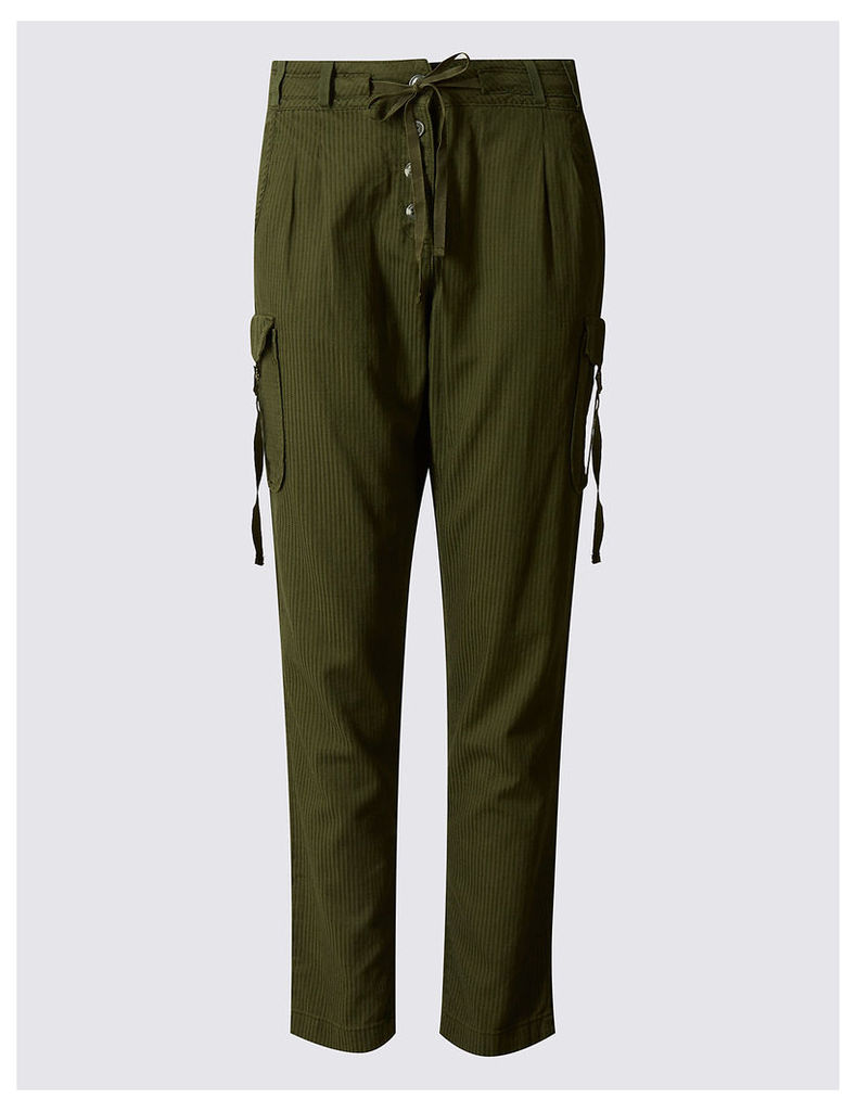 Indigo Collection Cotton Blend Striped Tapered Leg Trousers