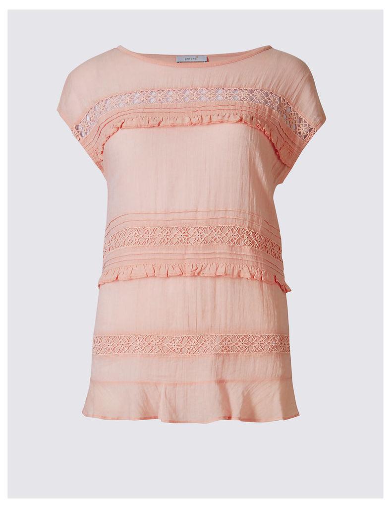 Per Una Cotton Blend Short Sleeve Jersey Top