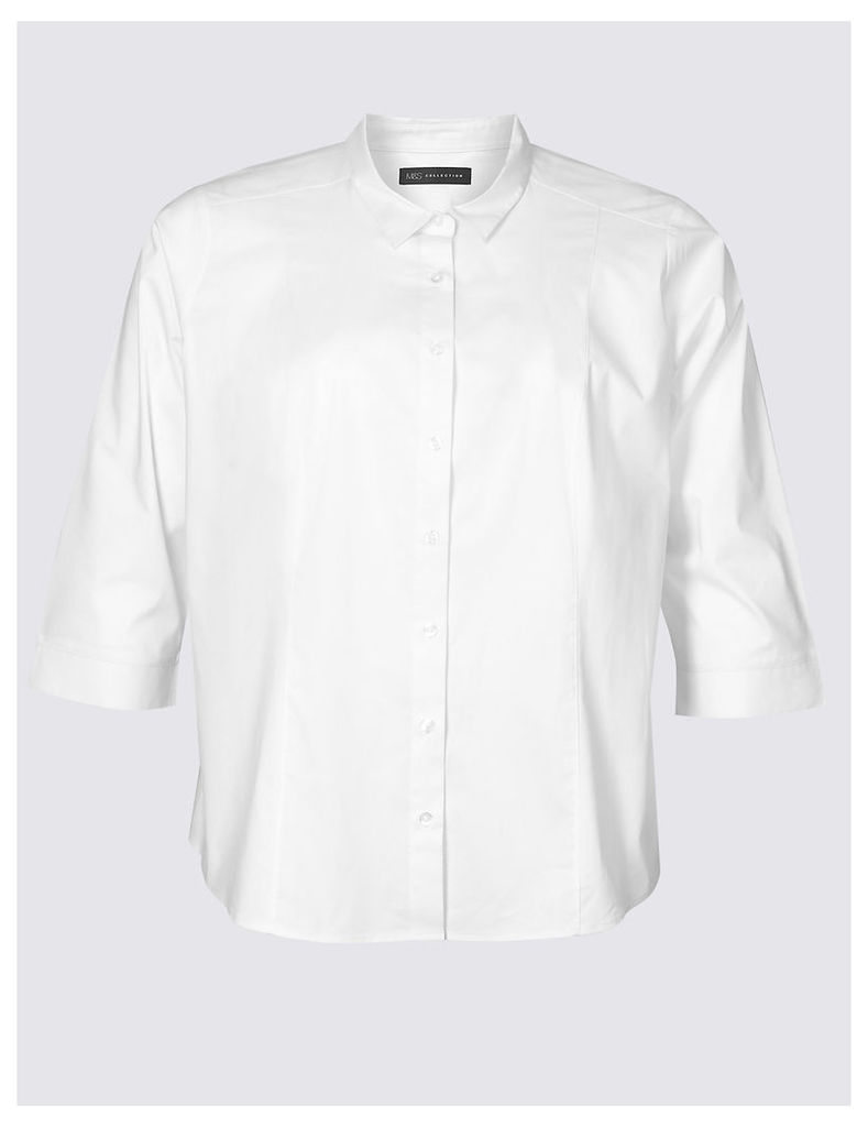M&S Collection Cotton Rich 3/4 Sleeve Shirt