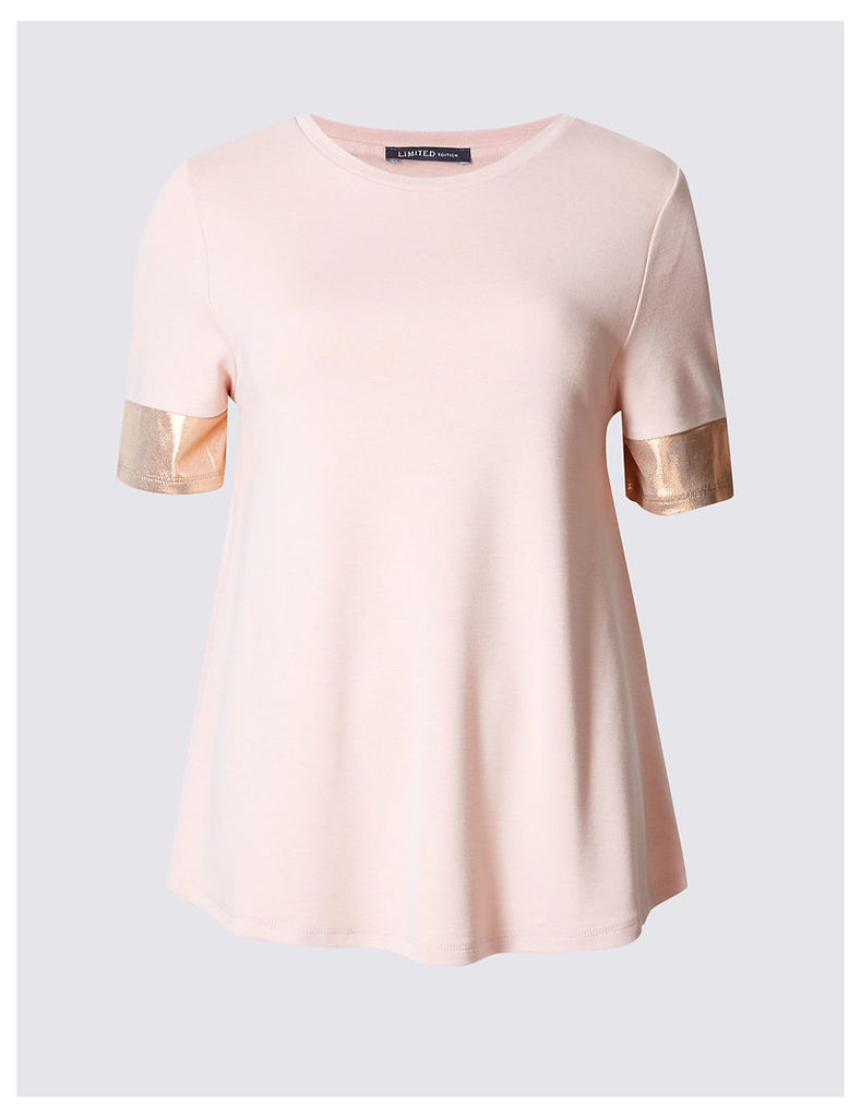 Limited Edition Round Neck Metallic Sleeve Jersey Top