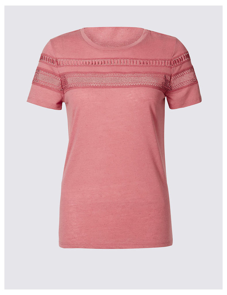 Indigo Collection Lace Trim Short Sleeve Jersey Top