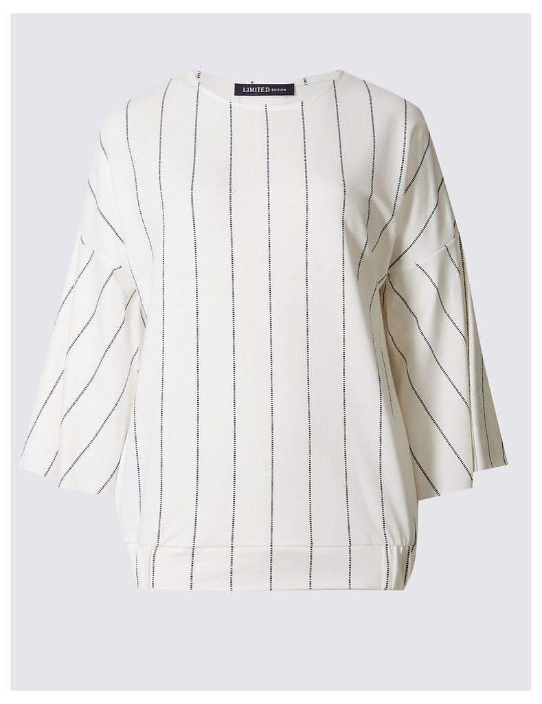 Limited Edition Pure Cotton Striped 3/4 Sleeve Jersey Top