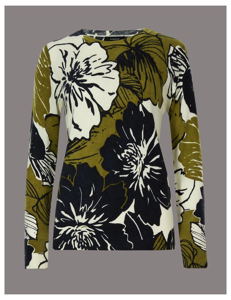 Autograph Pure Cashmere Floral Print Jumper