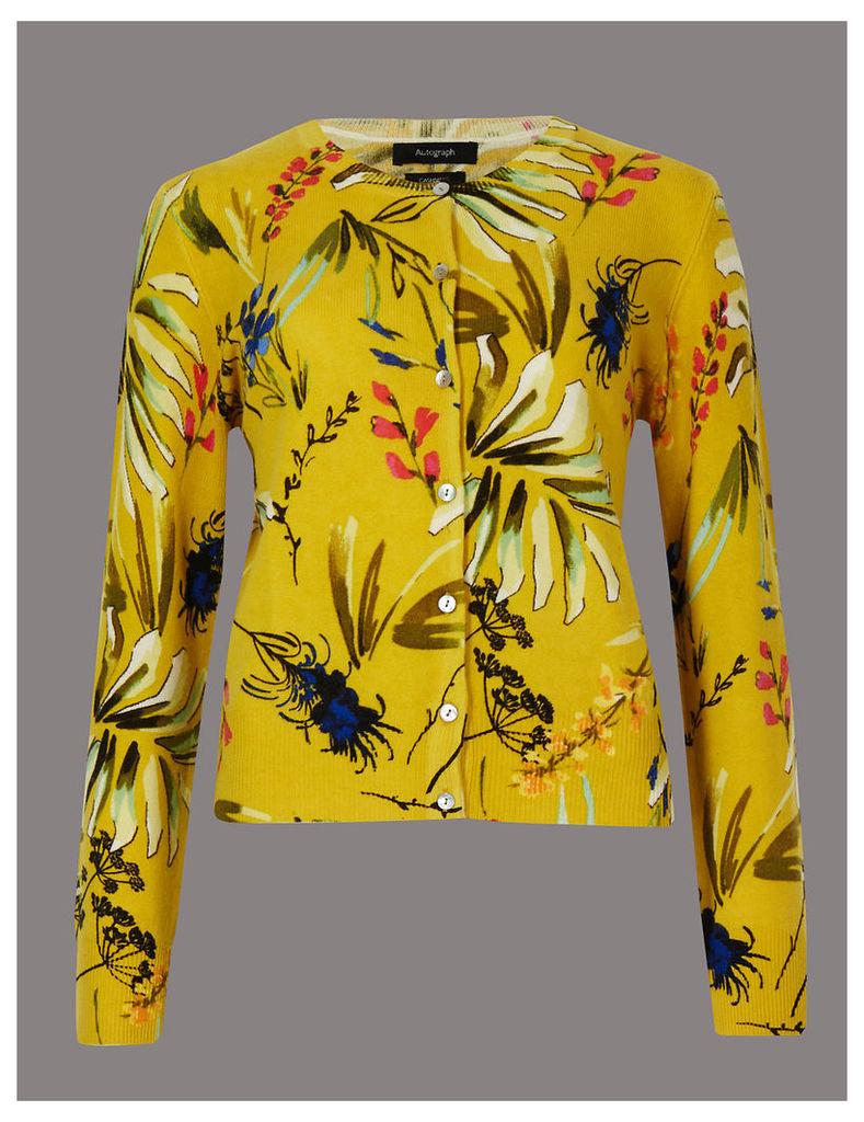 Autograph Pure Cashmere Floral Print Cardigan