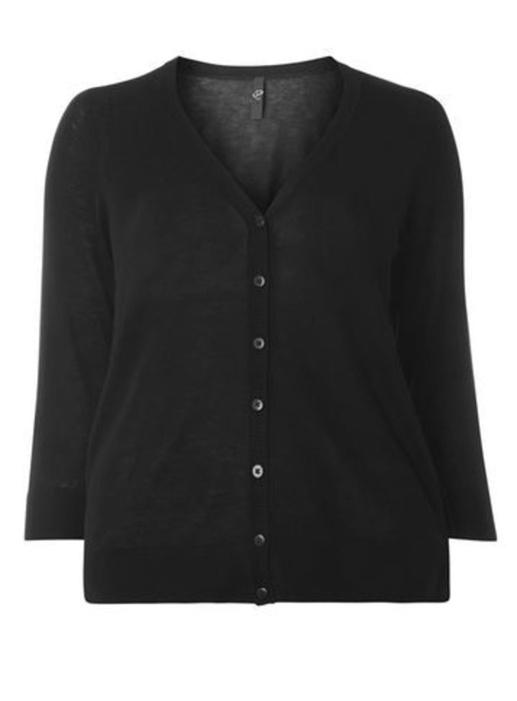 Black Button Through Cardigan, Black