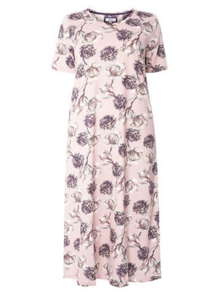 Pink Rose Bloom Long Nightdress, Purple