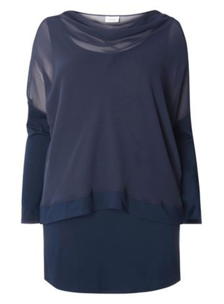 Live Unlimited Navy Blue Chiffon Overlay Top, Navy