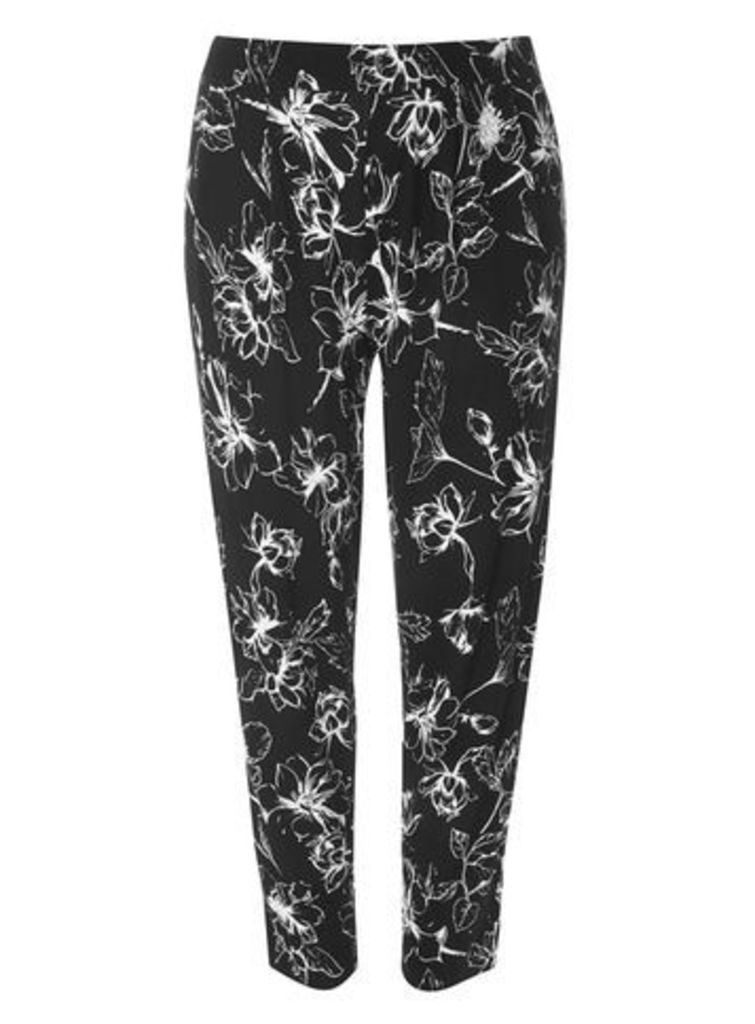 Black And White Tapered Trousers, Black/White