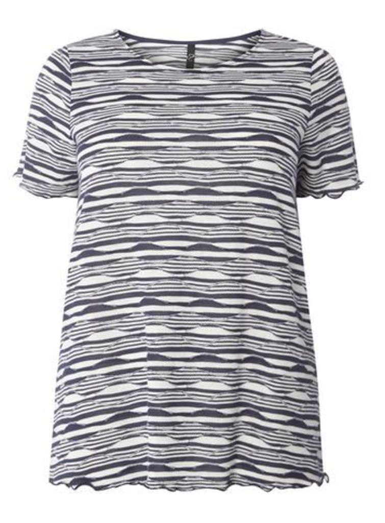 Navy Blue And White Textured Stripe T-Shirt, Navy