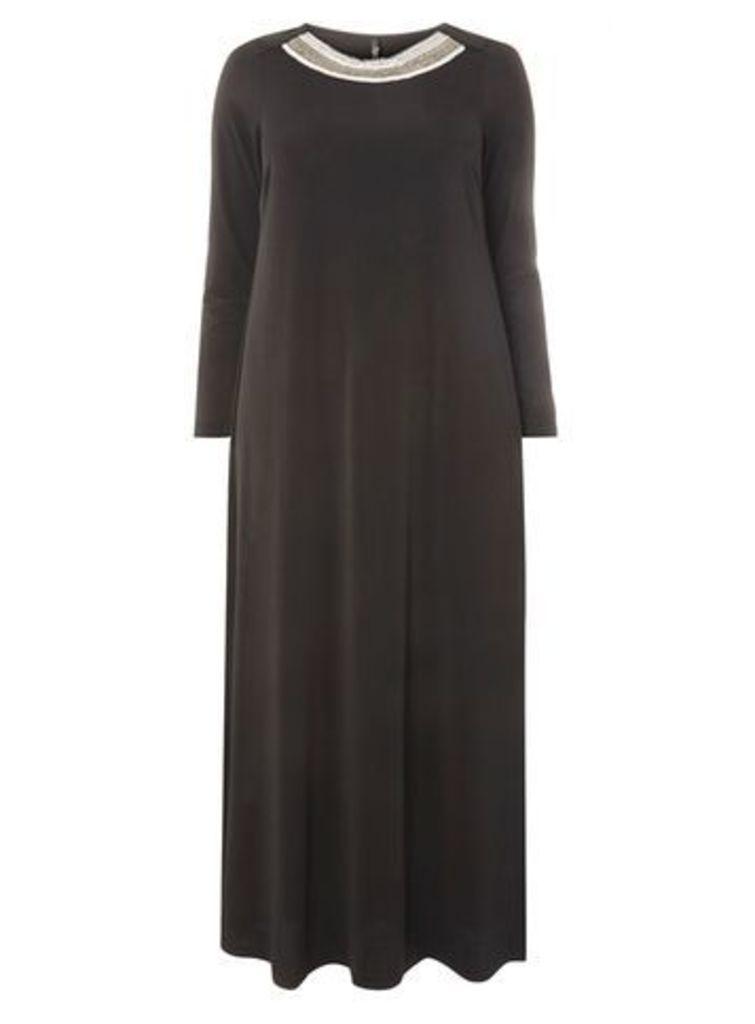 Black Embellished Neck Maxi Dress, Black