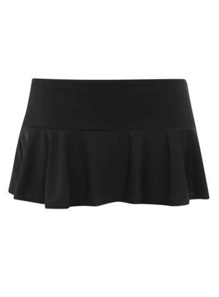 Black Fluted Swim Skirt, Black