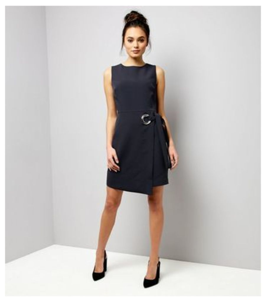 Navy Ring Trim Wrap Front Dress