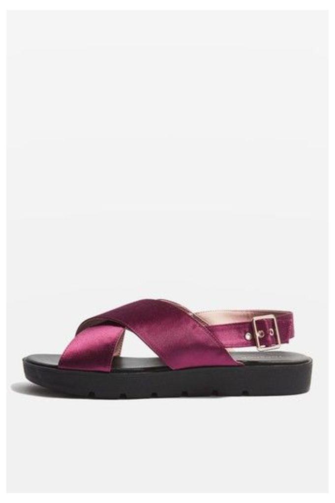 Womens HOLLA Satin Sandals - Purple, Purple