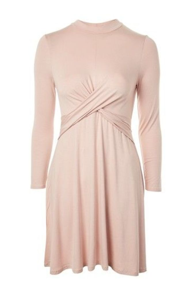 Womens PETITE Twist Front Flippy Dress - Blush, Blush