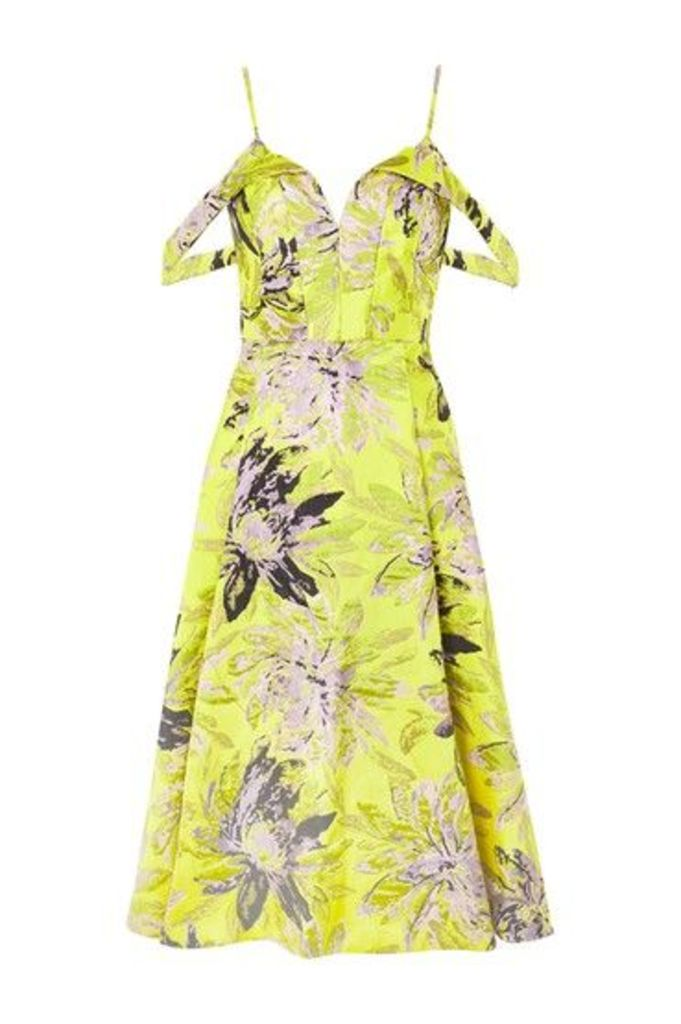 Womens Floral Jacquard Prom Midi Dress - Lime, Lime