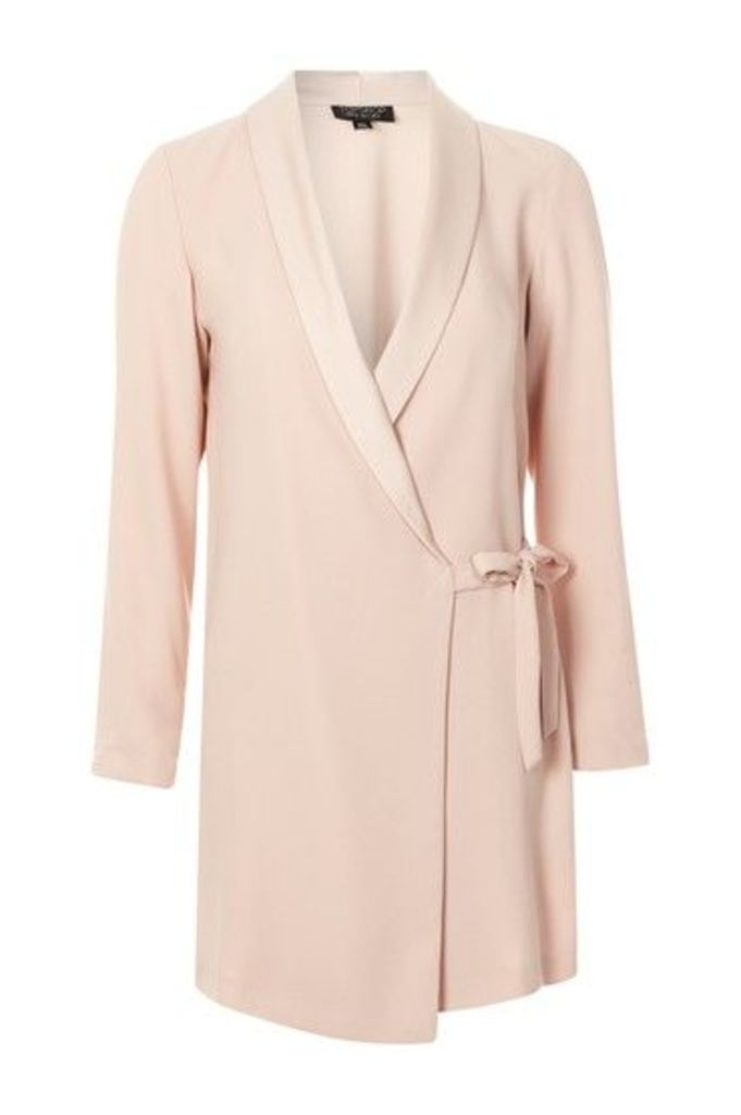 Womens Tie Side Blazer Dress - Blush, Blush